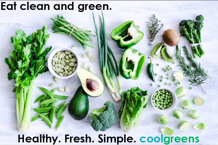 Fake Coolgreens ad featuring fresh produce and copy created for a PR Course assignment