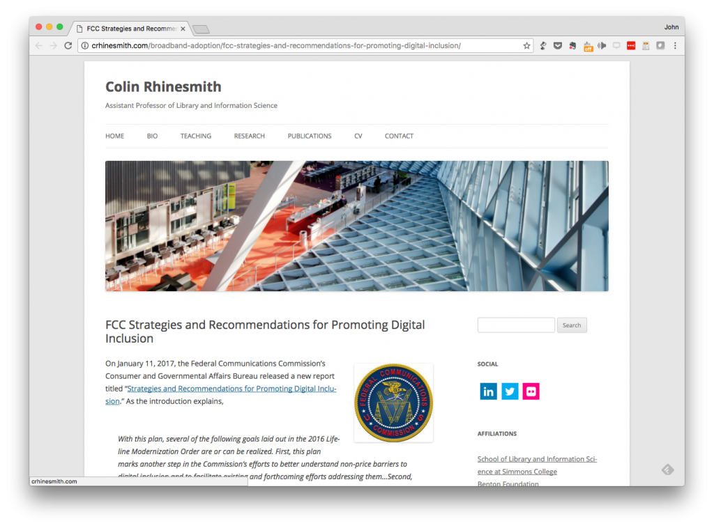 Screenshot of Colin Rhinesmith's blog post on the new FCC report on digital inclusion