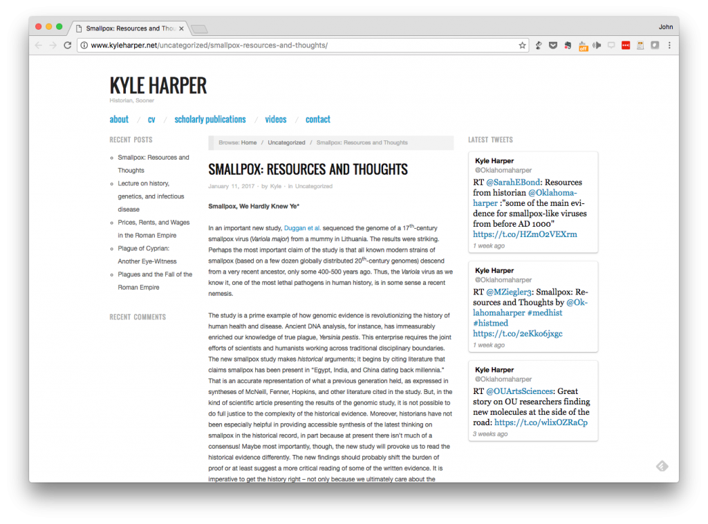 Screen shot of Kyle Harper's blog post about the history of smallpox