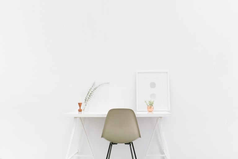 Photo of a minimalist desk from Cara's blog post entitled Minimalism