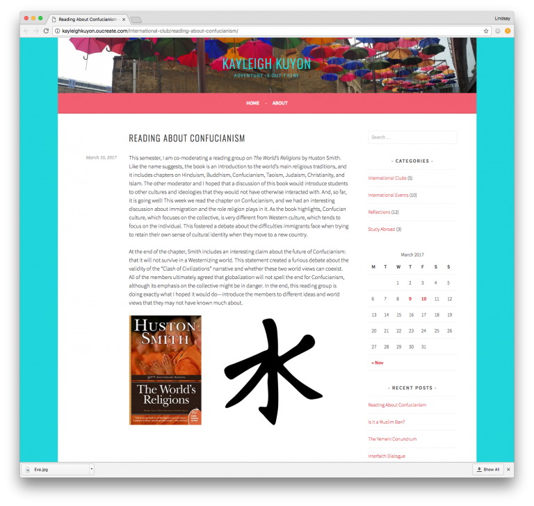 Screenshot of Kayleigh's blog post titled Reading About Confucianism
