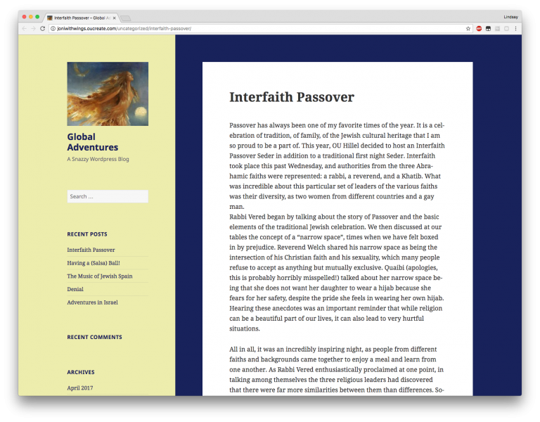 Screenshot of Jodi's blog post titled Interfaith Passover
