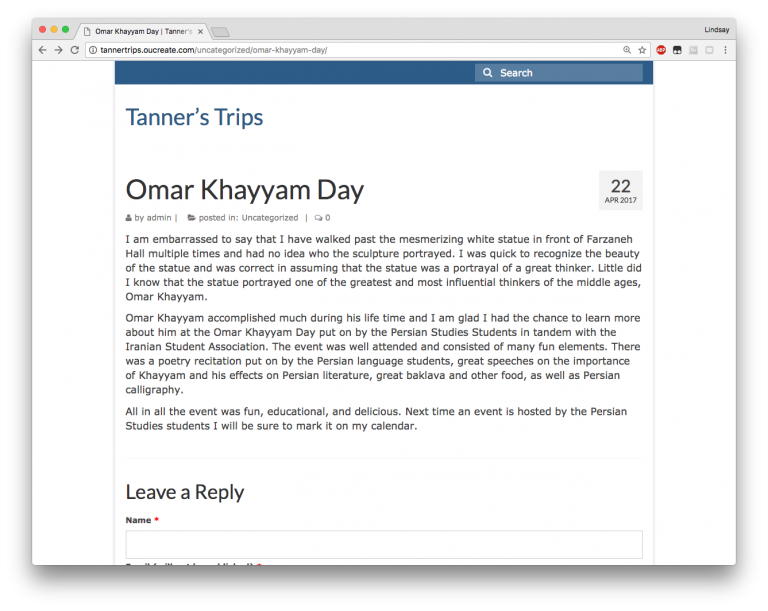 Screen shot of Tanner's blog titled Omar Khayyam Day