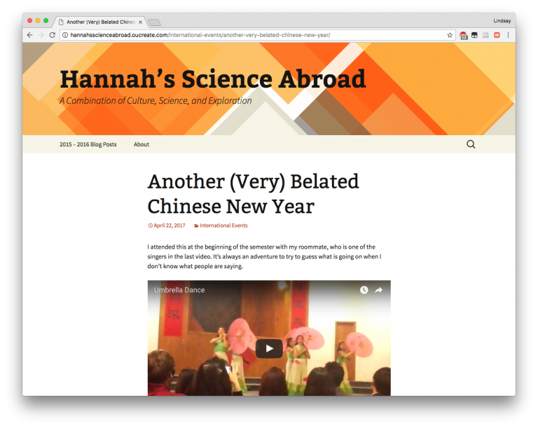 Screen shot of Hannah's blog titled Another (Very) Belated Chinese New Year