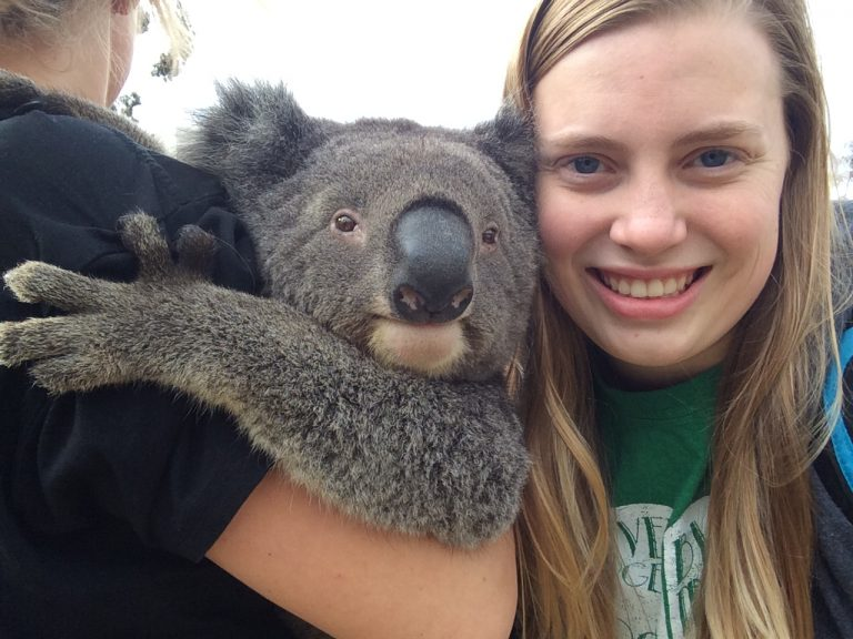 Katie's photo of living her best life next to a koala