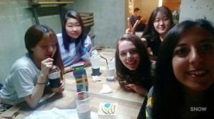 Sarah's picture with Korean, Russian, and Italian friends