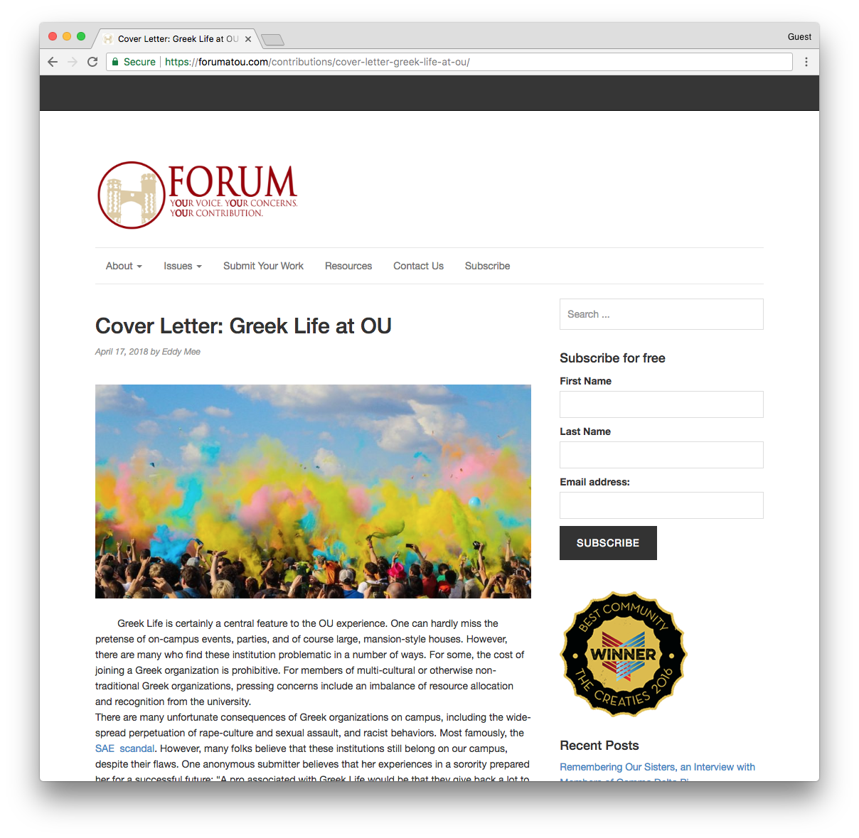 Screenshot of OU Forum's cover letter