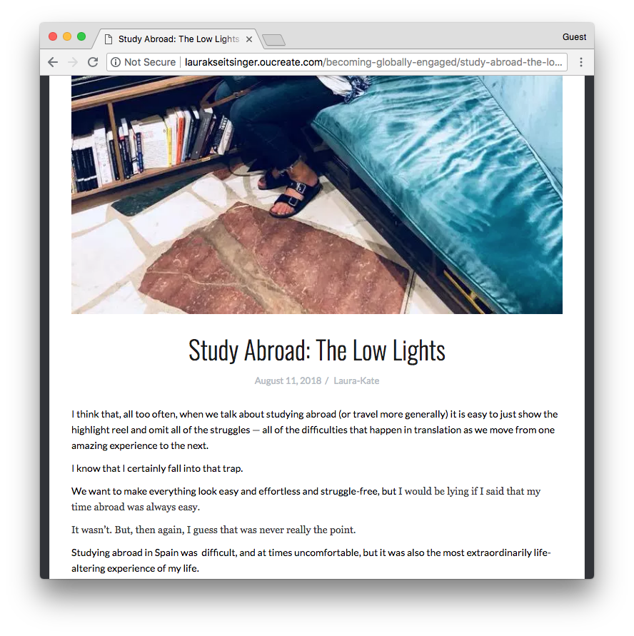 Screenshot of Laura-Kate's blogpost
