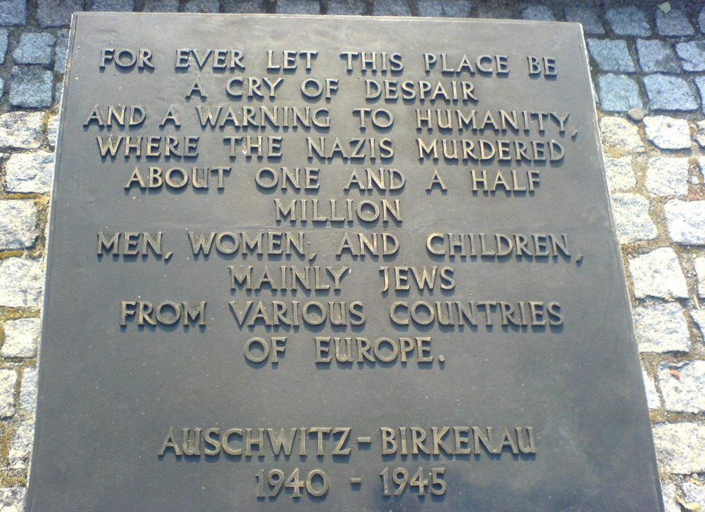 Lydian's picture of quote at Auschwitz